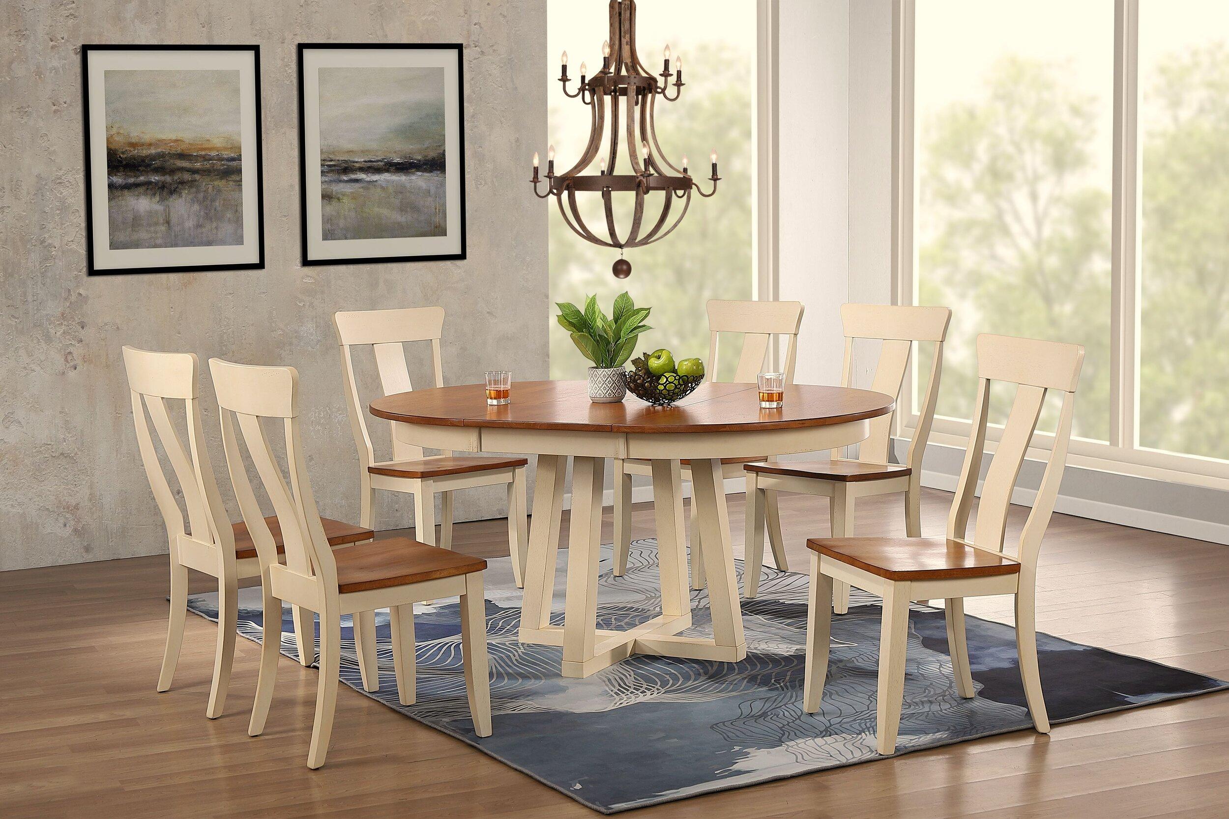 "45""x45""x63"" Antiqued Caramel Biscotti Panel Back 7-Piece Cross Pedestal Dining Set"