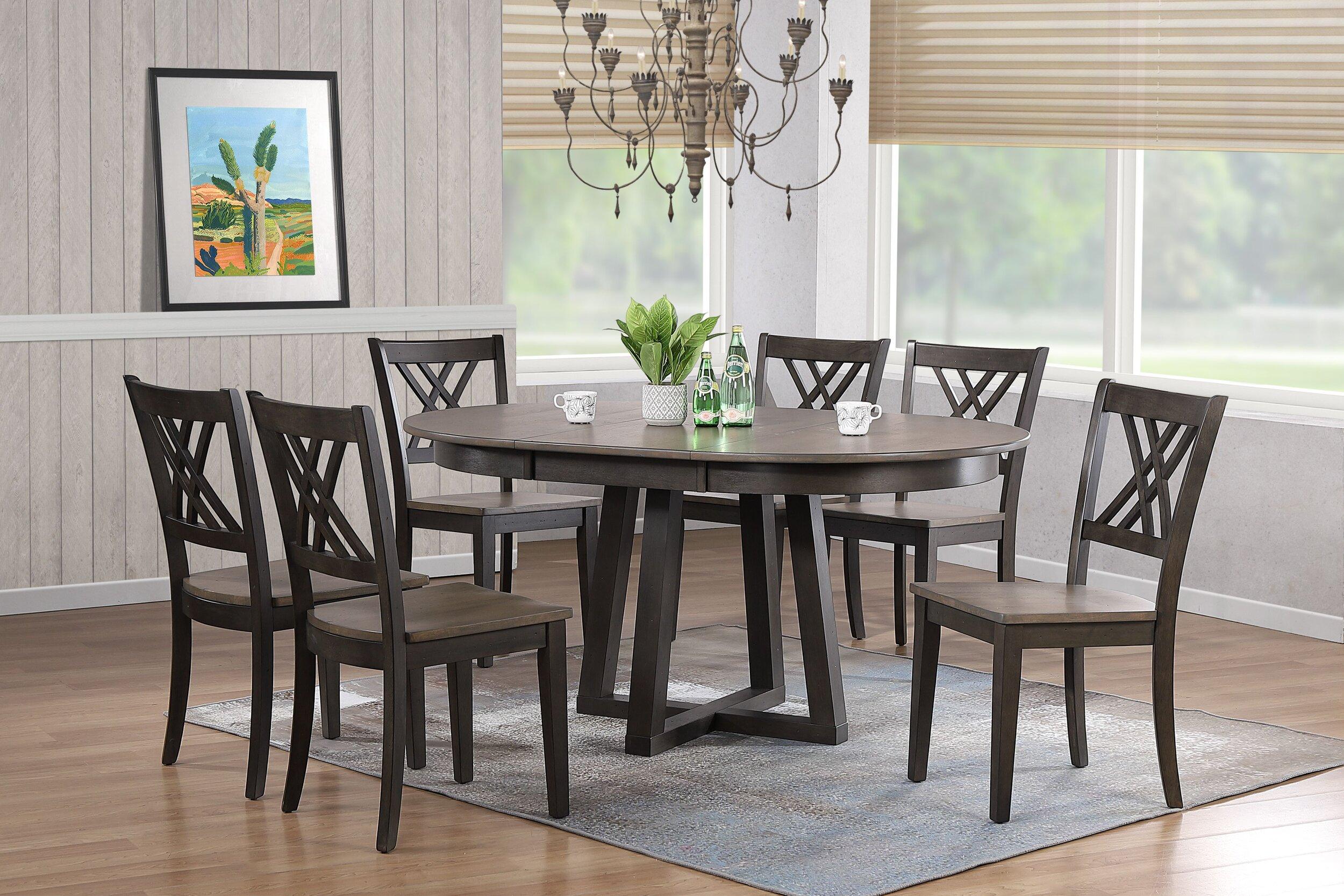 "45""x45""x63"" Antiqued Grey Stone Black Stone Double X-Back 7-Piece Cross Pedestal Dining Set"