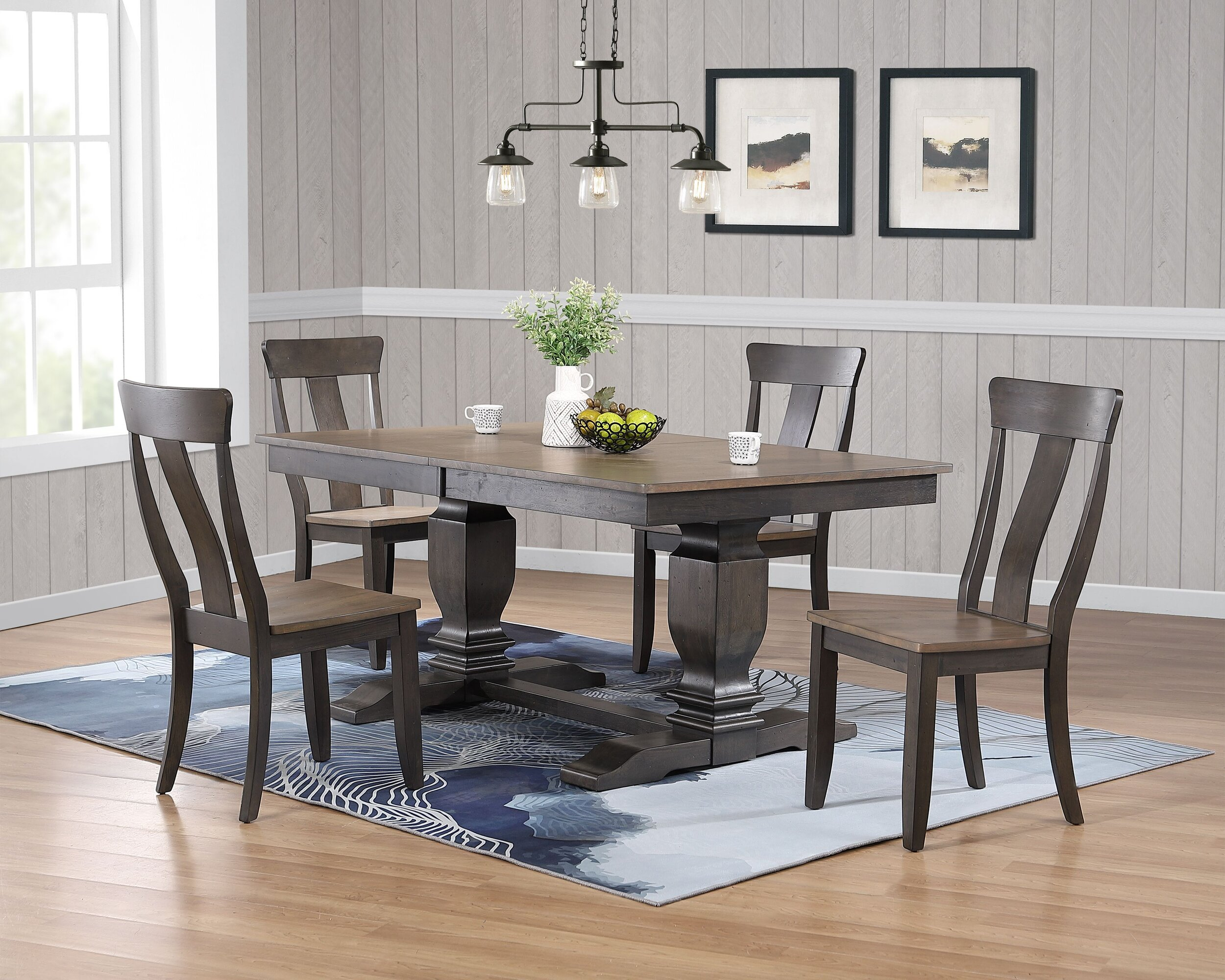 """42""""x64""""x82"""" Double Transitional Pedestal In Antique Grey Stone Black Stone Panel Back 5-Piece Dining Set"""