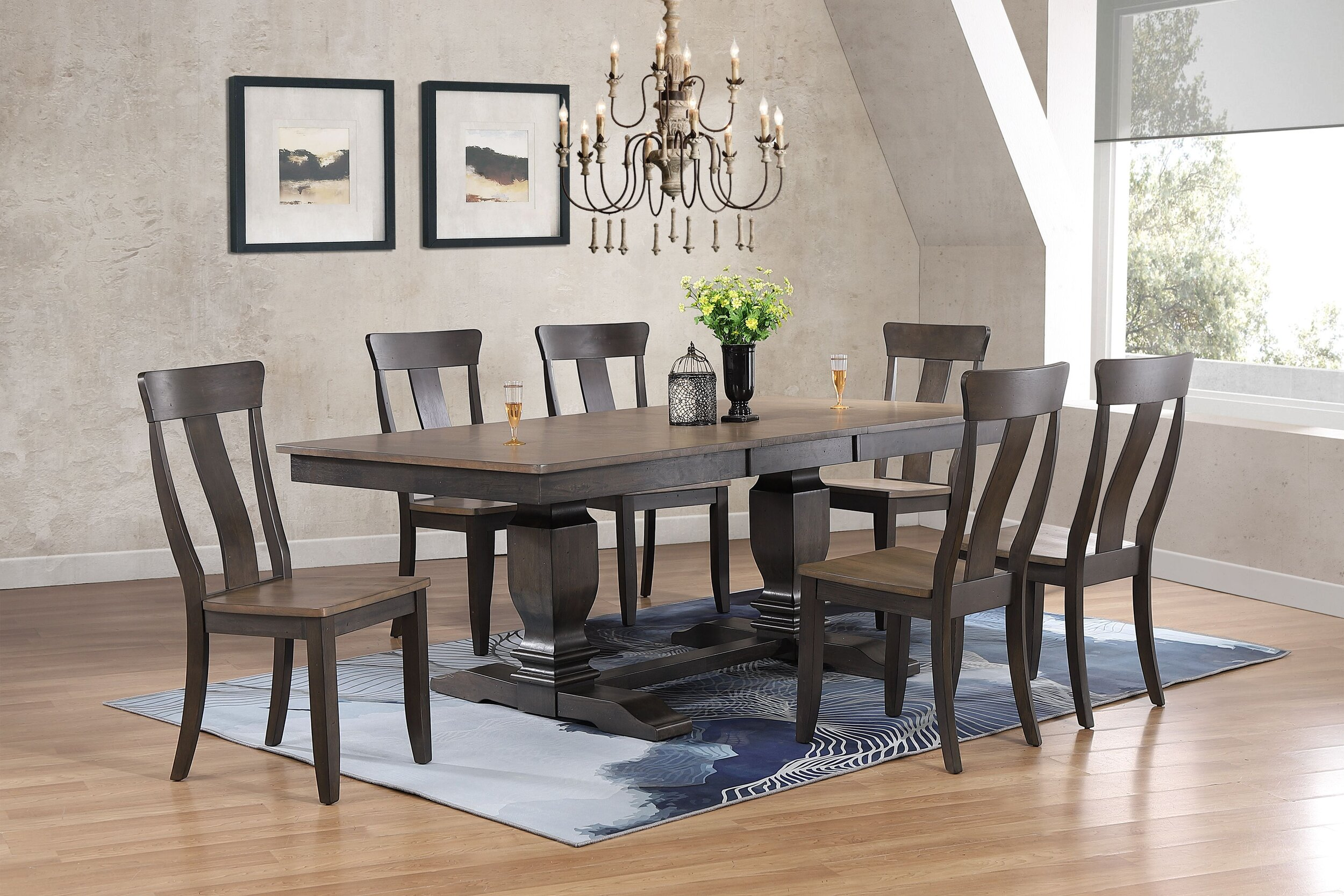 """42""""x64""""x82"""" Double Transitional Pedestal In Antique Grey Stone Black Stone Panel Back 7-Piece Dining Set"""