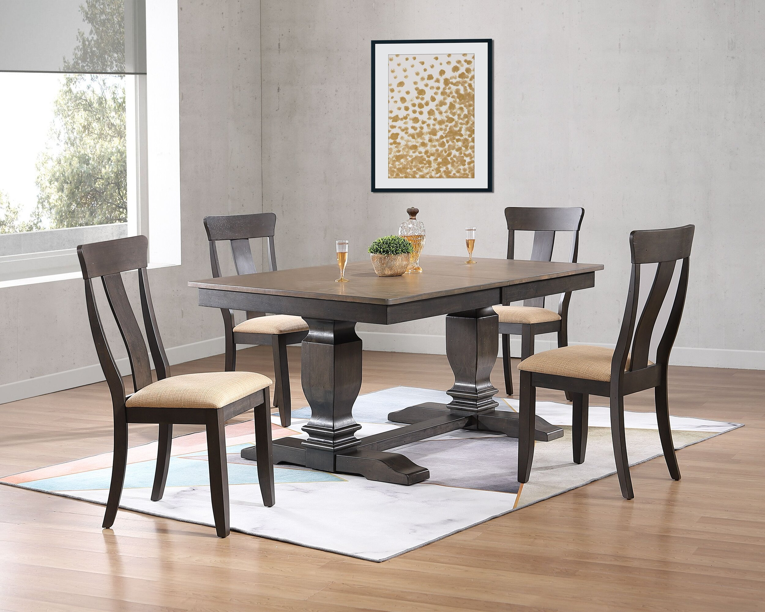 """42""""x64""""x82"""" Double Transitional Pedestal Antique Grey Stone Black Stone Upholstered Panel Back 5-Piece Dining Set"""
