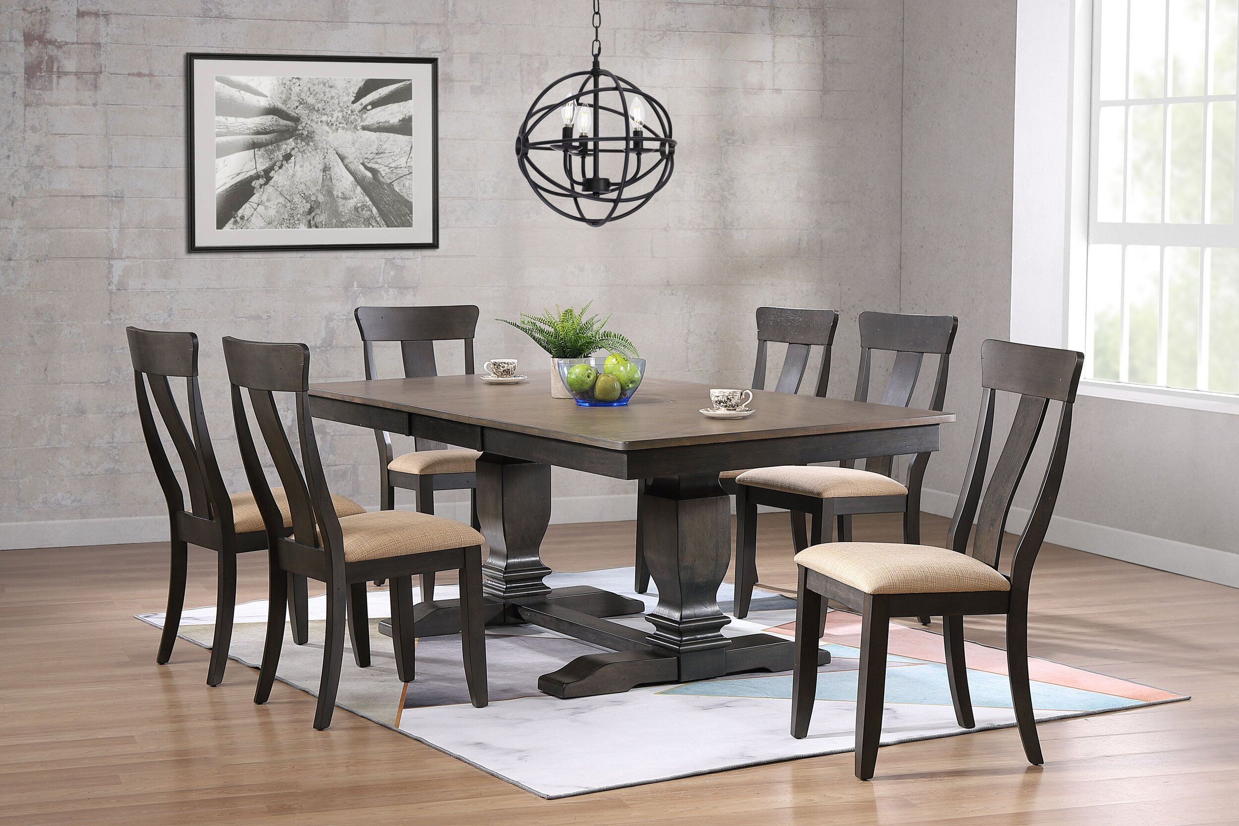 """42""""x64""""x82"""" Double Transitional  Pedestal Antique Grey Stone Black Stone Upholstered Panel Back 7-Piece Dining Set"""