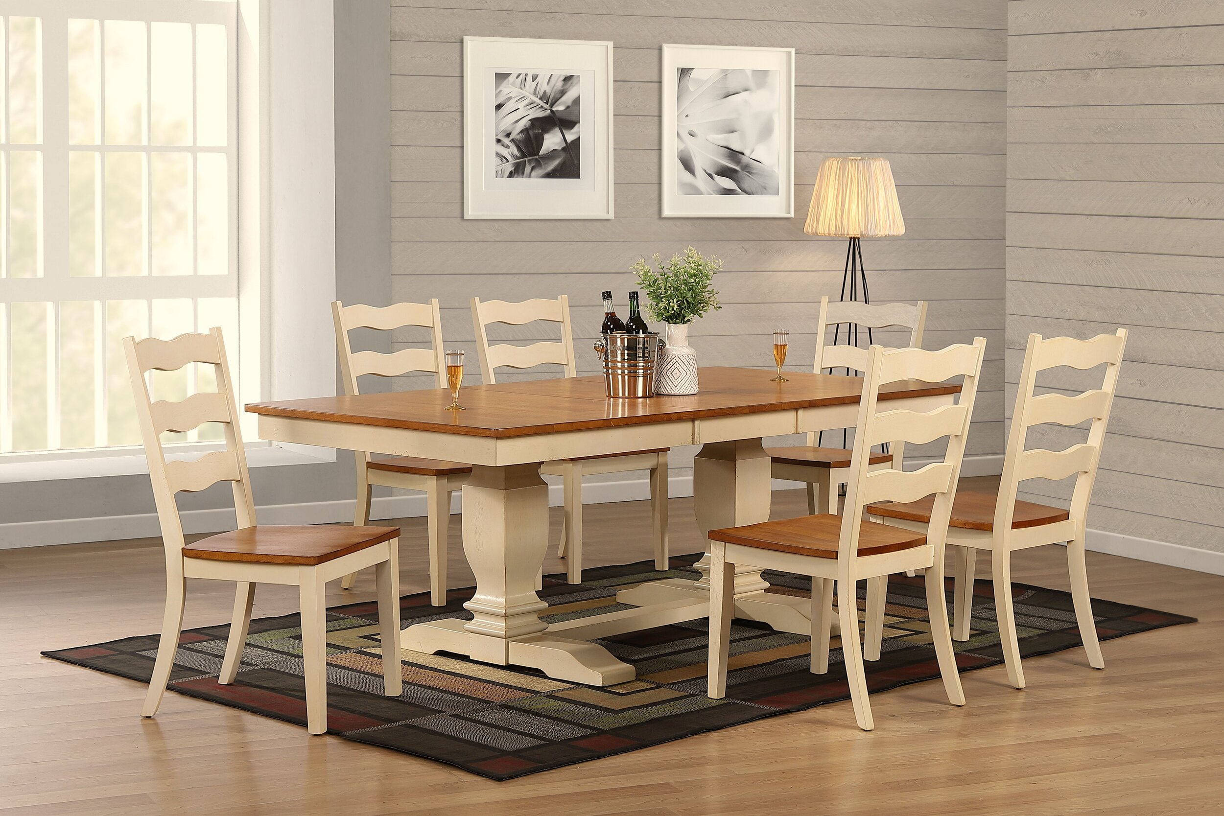 """42""""x64""""x82"""" Double Transitional Antique Caramel Biscotti Ladder Back 7-Piece Dining Set"""