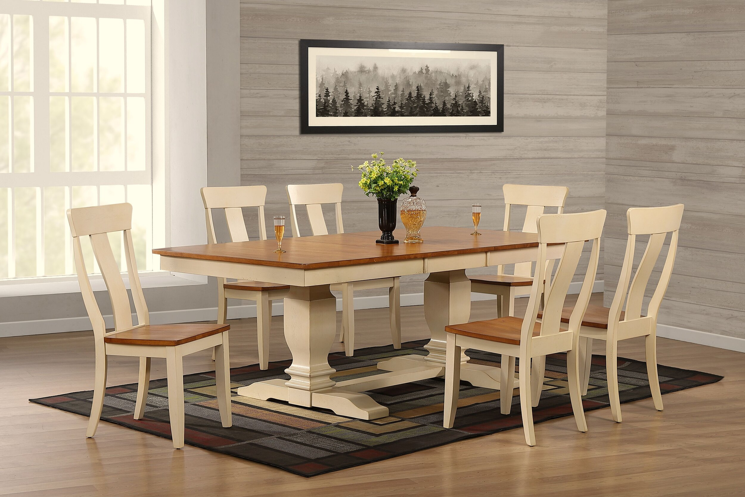 """42""""x64""""x82"""" Double Transitional Pedestal In Antique Caramel Biscotti Panel Back 7-Piece Dining Set"""