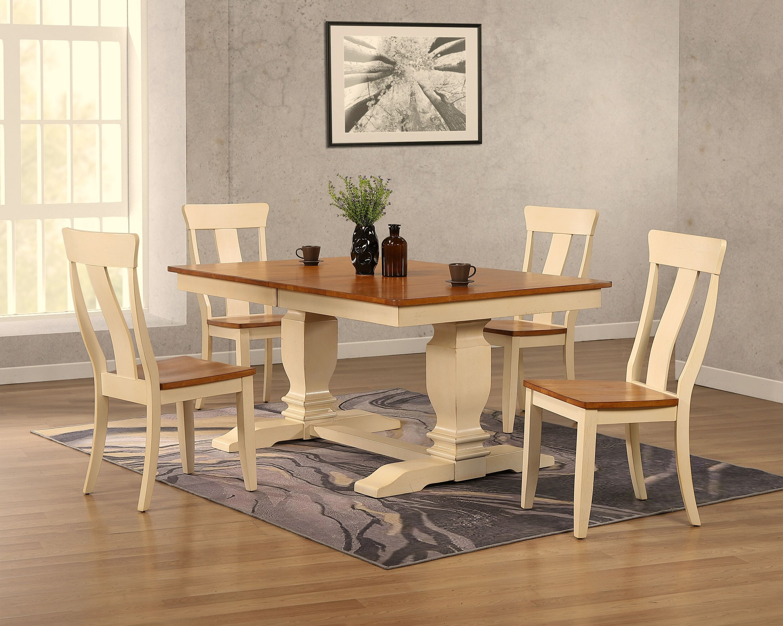 """42""""x64""""x82"""" Double Transitional Pedestal In Antique Caramel Biscotti Panel Back 5-Piece Dining Set"""