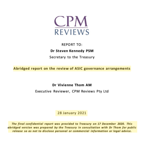 """The doctored,  """"abridged"""", version  of Thom's report re-written by Treasury. Source: Treasury"""