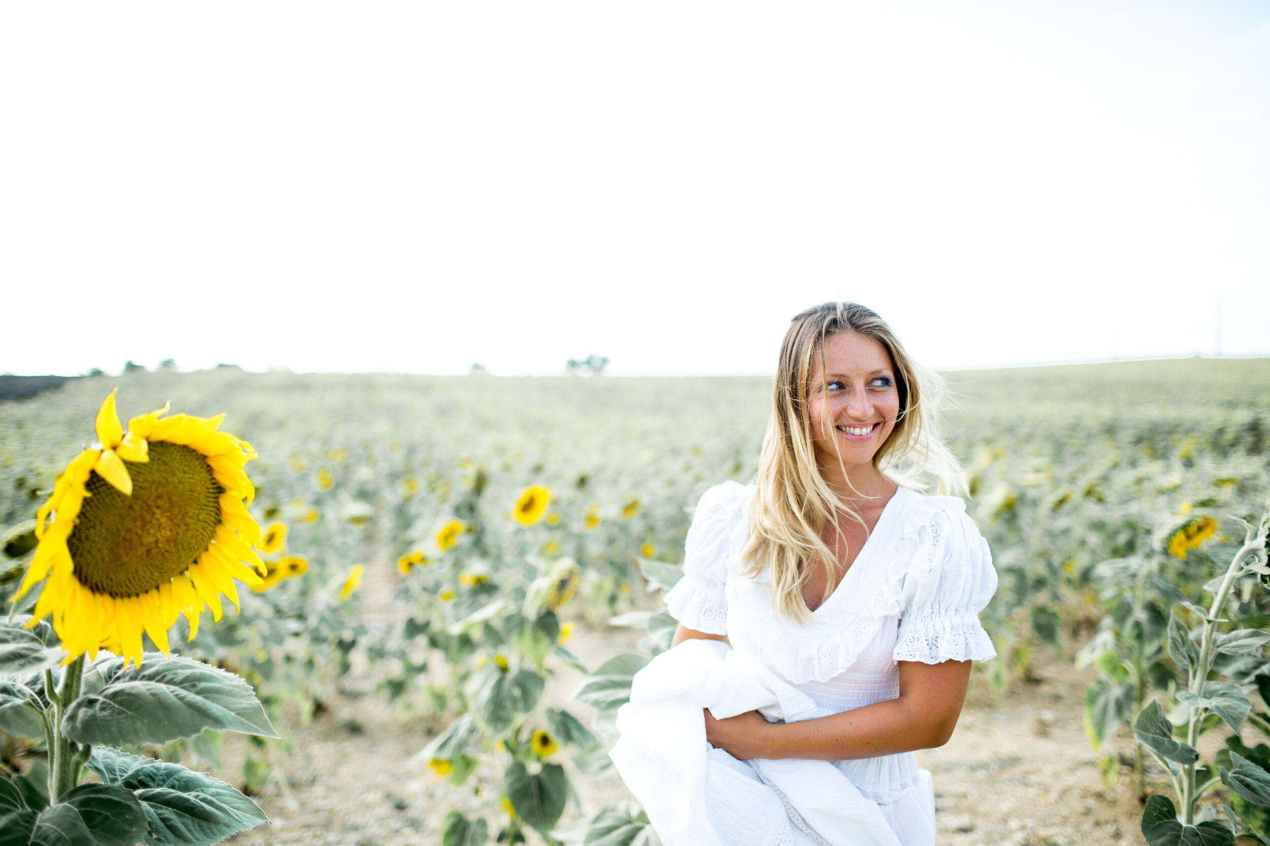 provence wedding bride in sunflower field