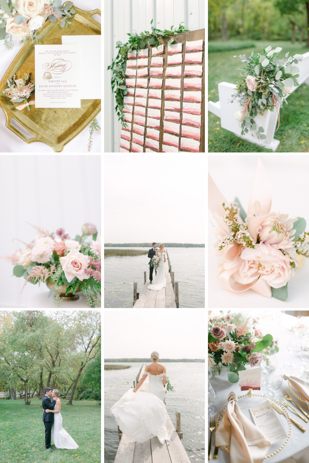 collage of blush and pink wedding details