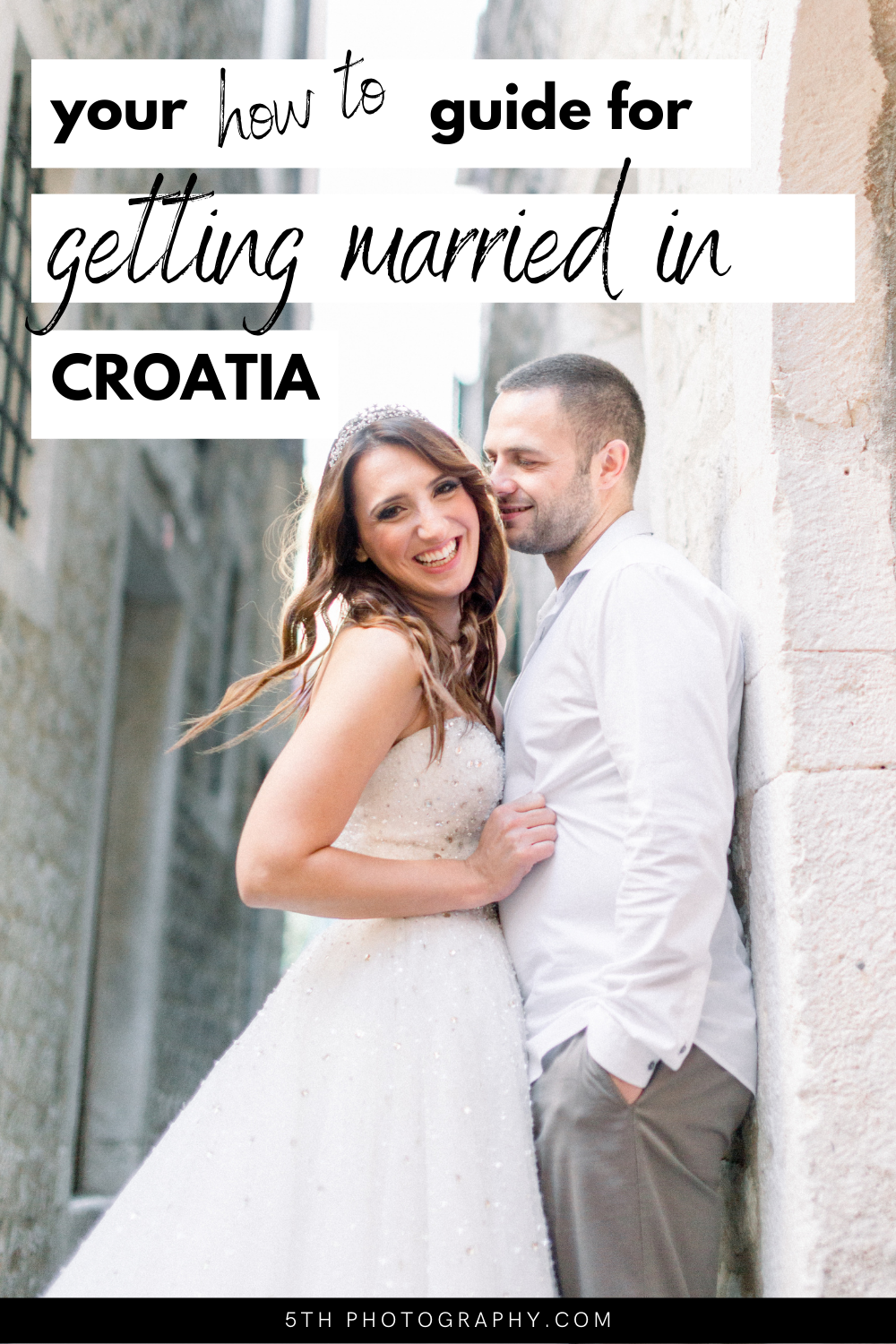 wedding couple laughing in croatian city