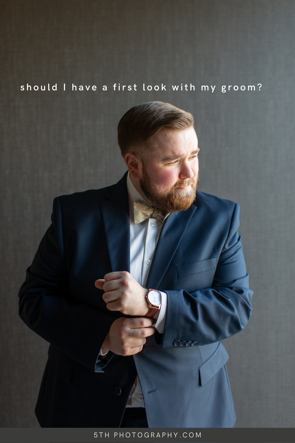 groom in getting ready room in stoic pose