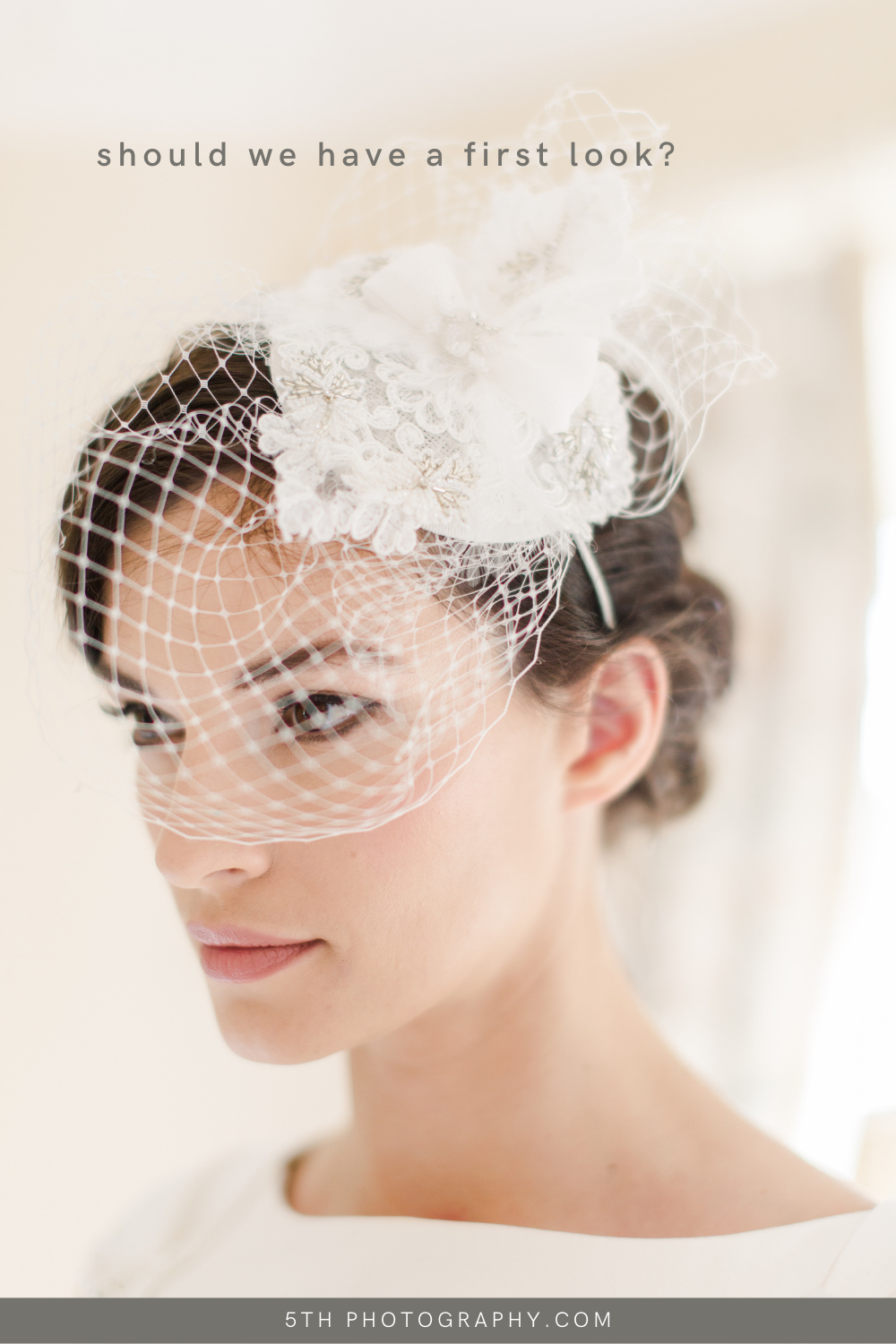 bridal portrait with small head piece