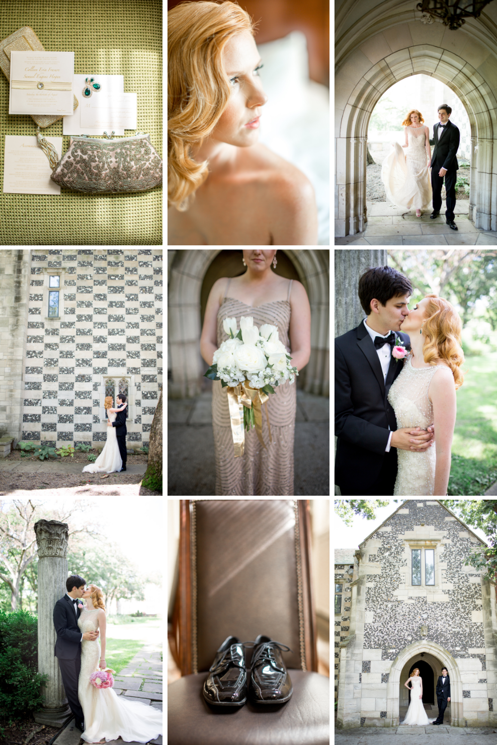 wedding collage of details in gold and green