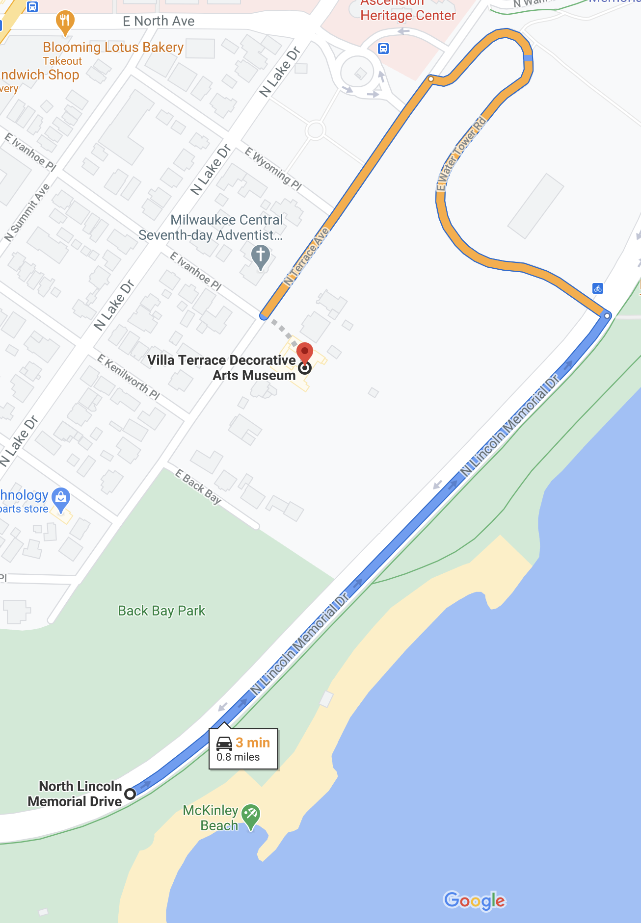 Map - Villa Terrace to McKinley Beach