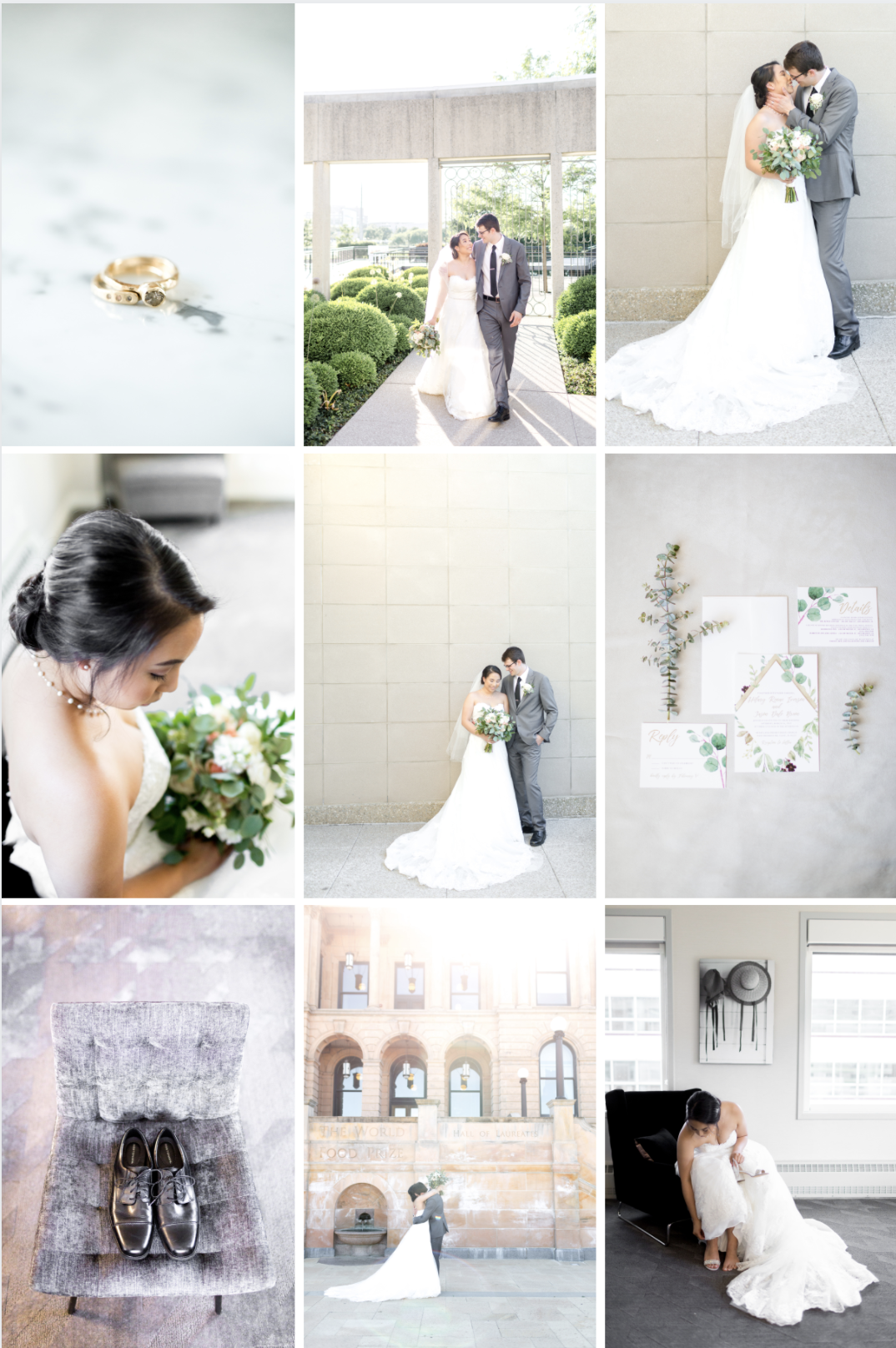 fine art wedding collage of asian bride and caucasian groom