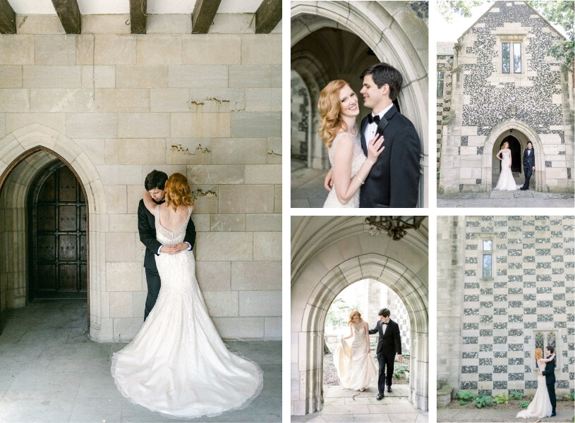 collage of bride and groom near old world building