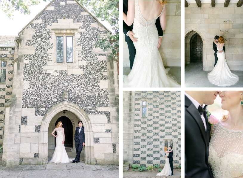 collage of wedding couple posing in gothic arches