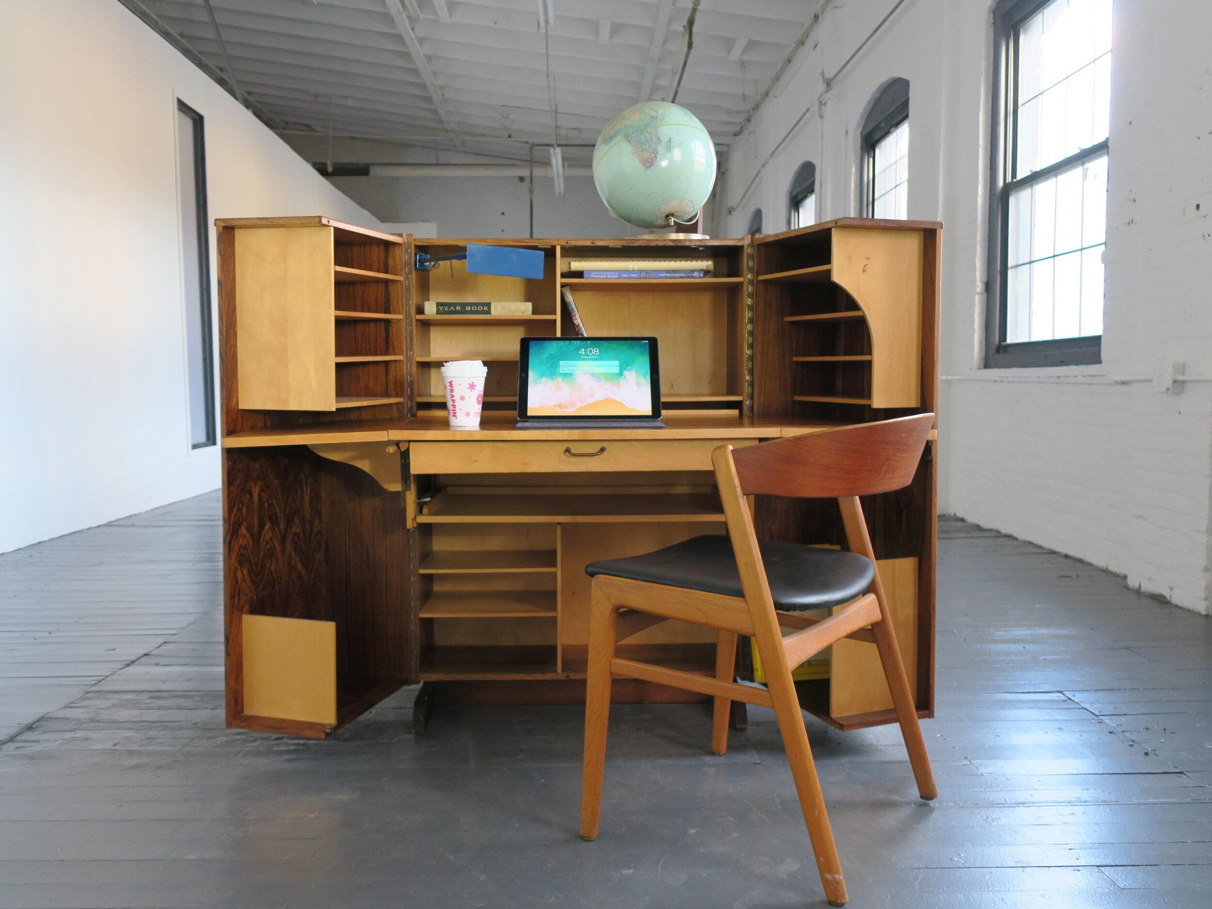Mid Century Danish Modern Magic Box Rosewood Hideaway Desk By Mummenthaler Meier Modifacts Ny
