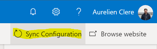 When you are done, don't FORGET to click on Sync configuration in order to publish your customization. After that, click on Browse website to see the result.