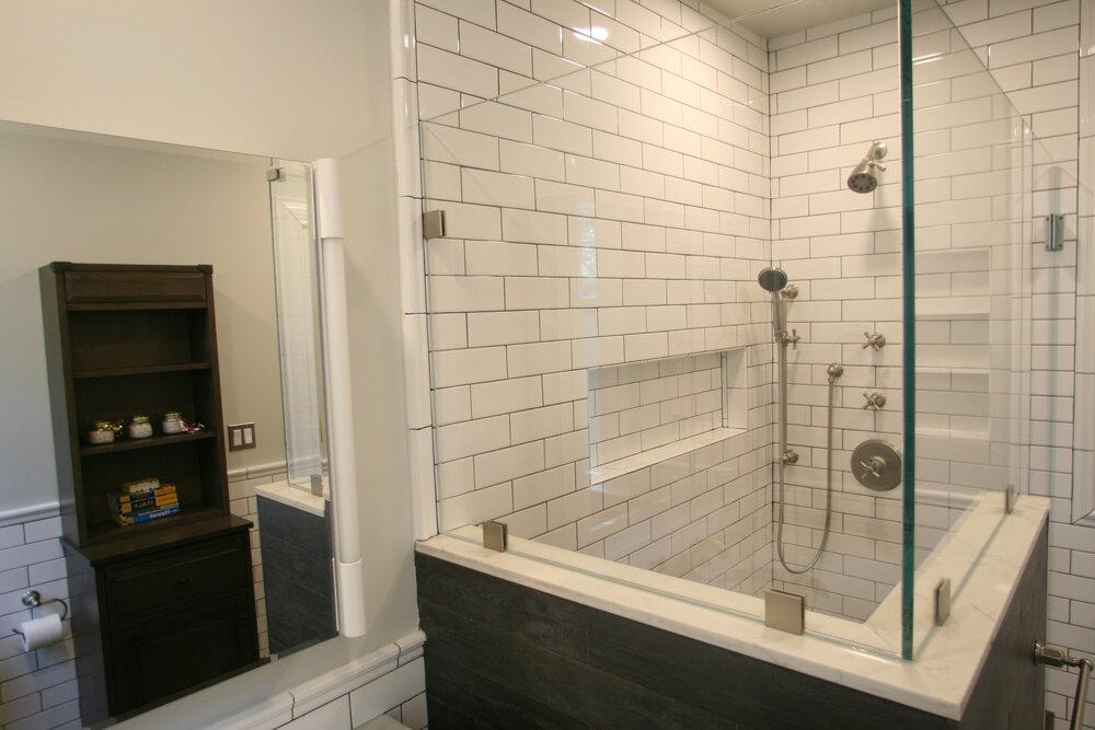 White Subway Tile Bathroom Remodel Example In Glenridge Nj Lm Interior Design Interior Designer In Essex County Nj For Kitchen Bathroom And Whole House Remodeling 973 857 1561