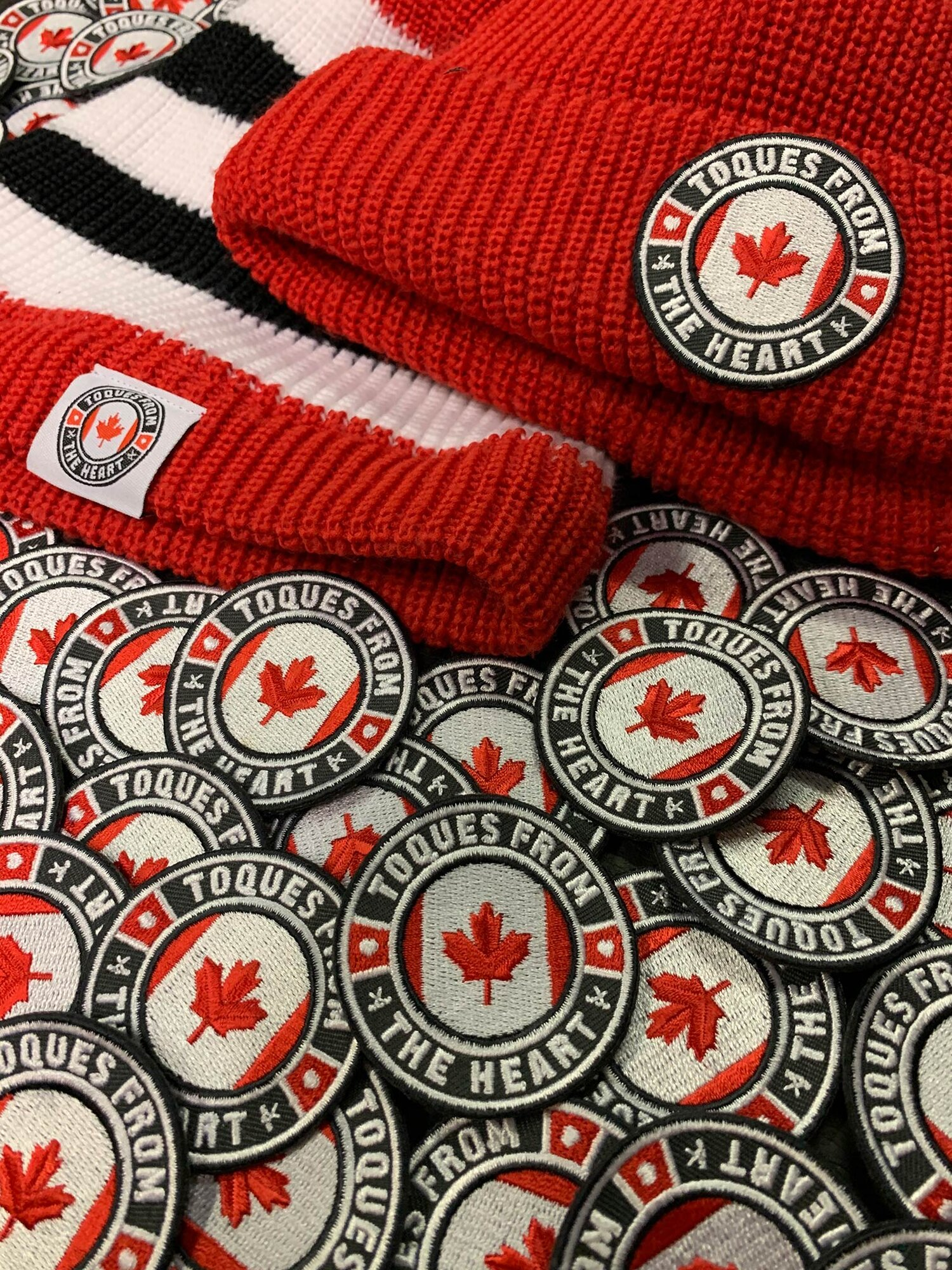 Toques made from a hockey socks with TFTH patches