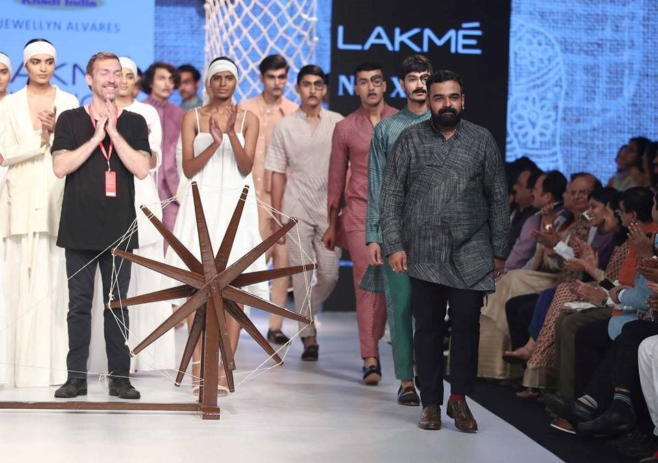 """Jewellyn Alvares with KVIC for his collection """"Converge"""" at the Lakme Fashion Week Festive/Winter 2018, Mumbai"""