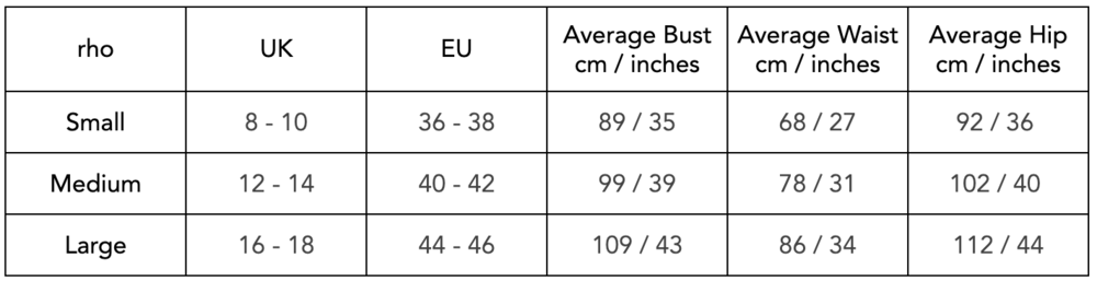 This size conversion chart gives you an idea of how rho sizes roughly align with the average bust, waist and hip measurements of the UK and EU sizes we have tried to accommodate so far. We aim to expand our size range as soon as possible!