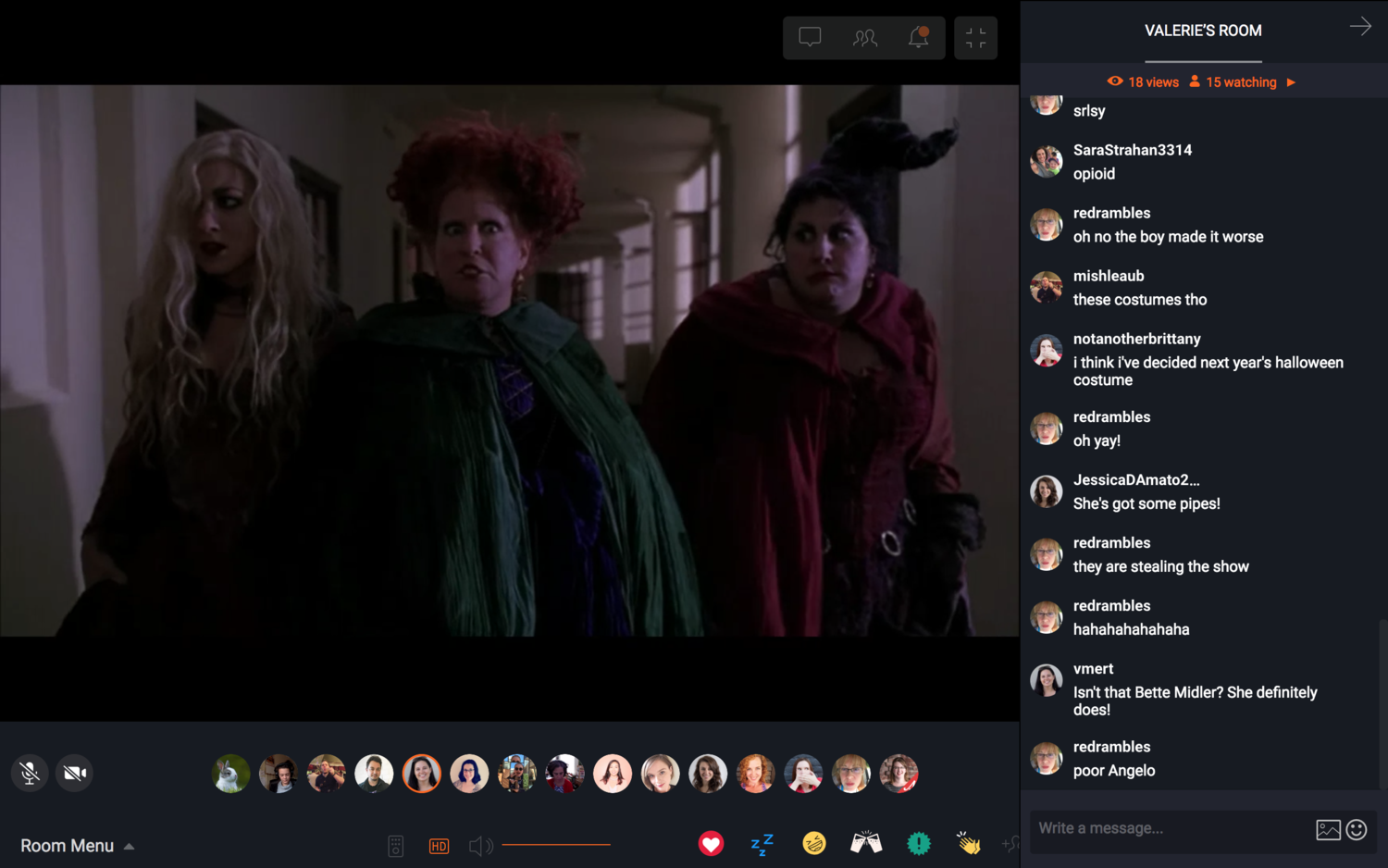 A Skillcrush movie night in which we broke with our musical tradition and watched Hocus Pocus in honor of Halloween.