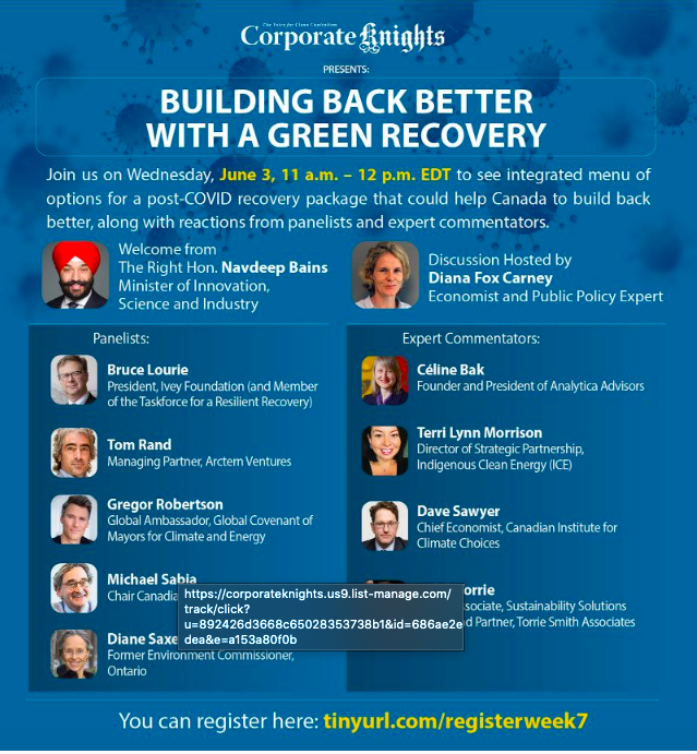 Building Back Better with a Green Recovery: Moving Forward Together —  Toronto Climate Action Network (TCAN)