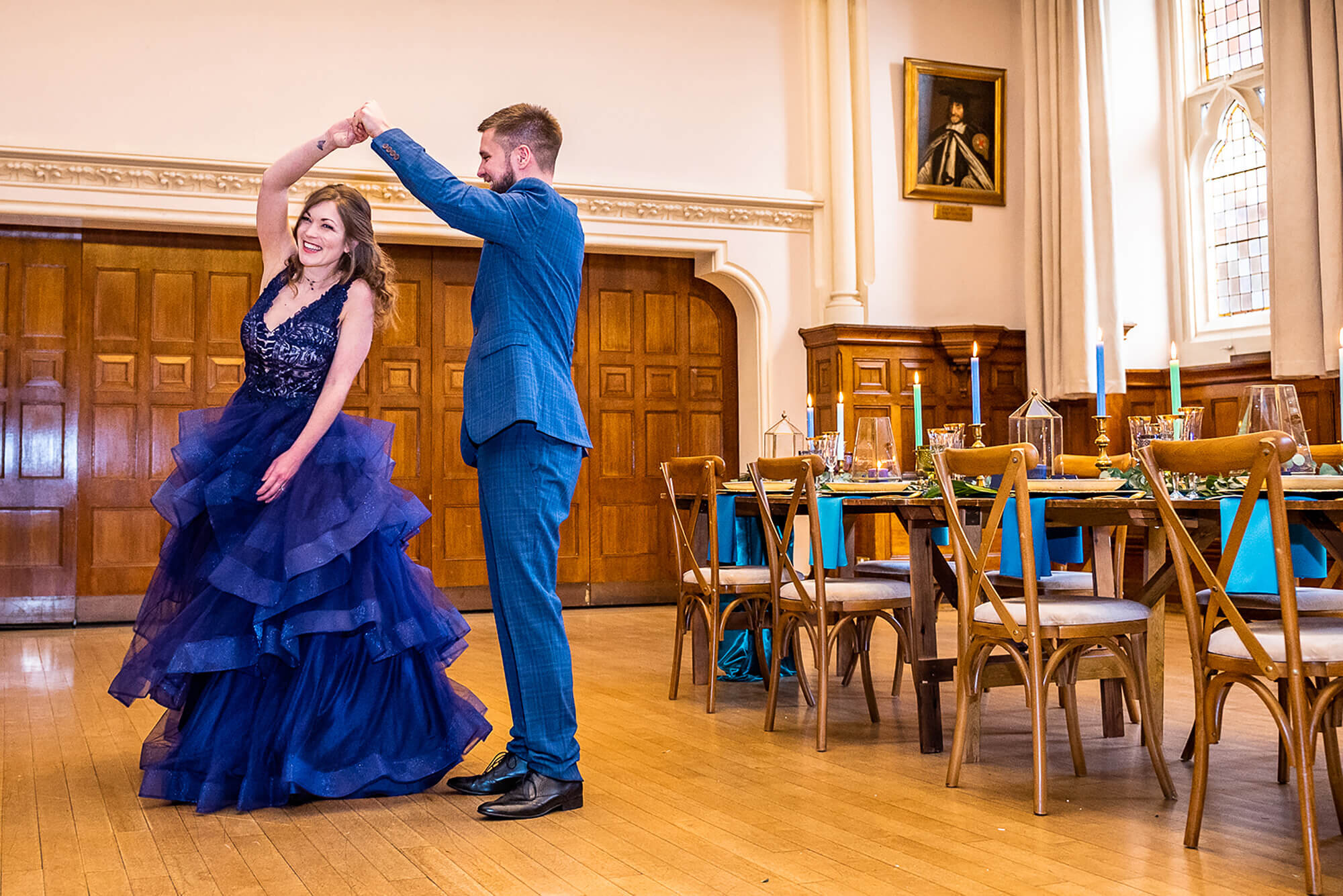 Wedding Couple Dancing in Blue Dress Winchester Guildhall