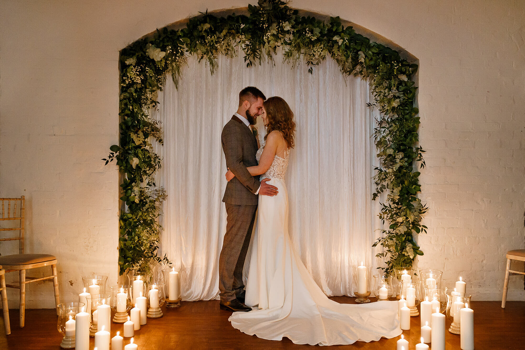 Candle Lit Wedding Ceremony Courtyard Room Winchester Guildhall