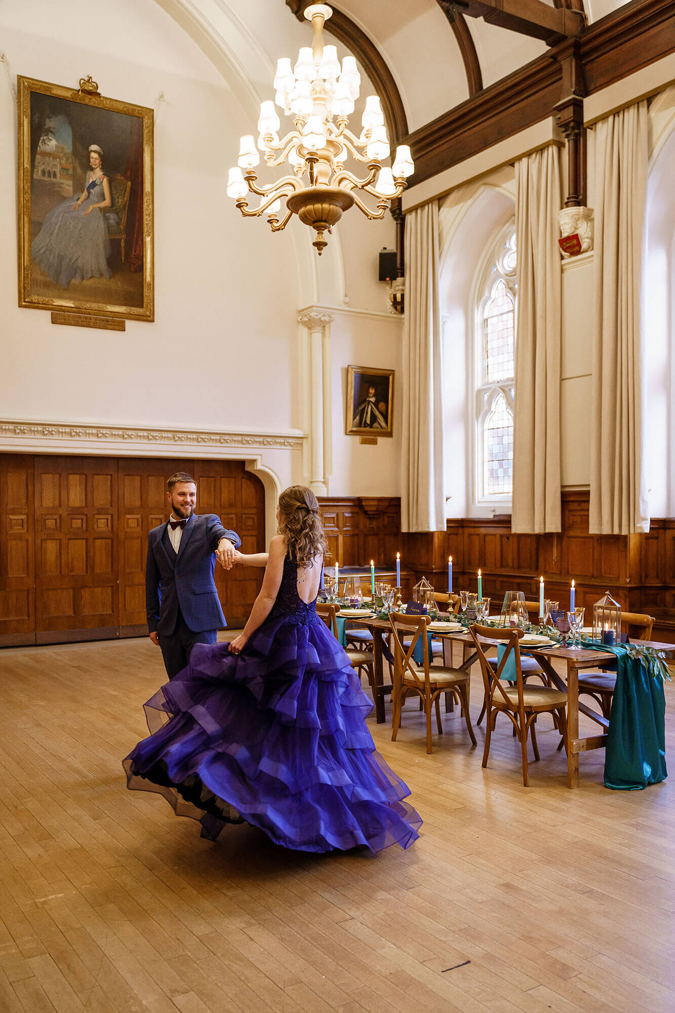 Bride and Groom dancing in Winchester Guildhall Wedding Reception