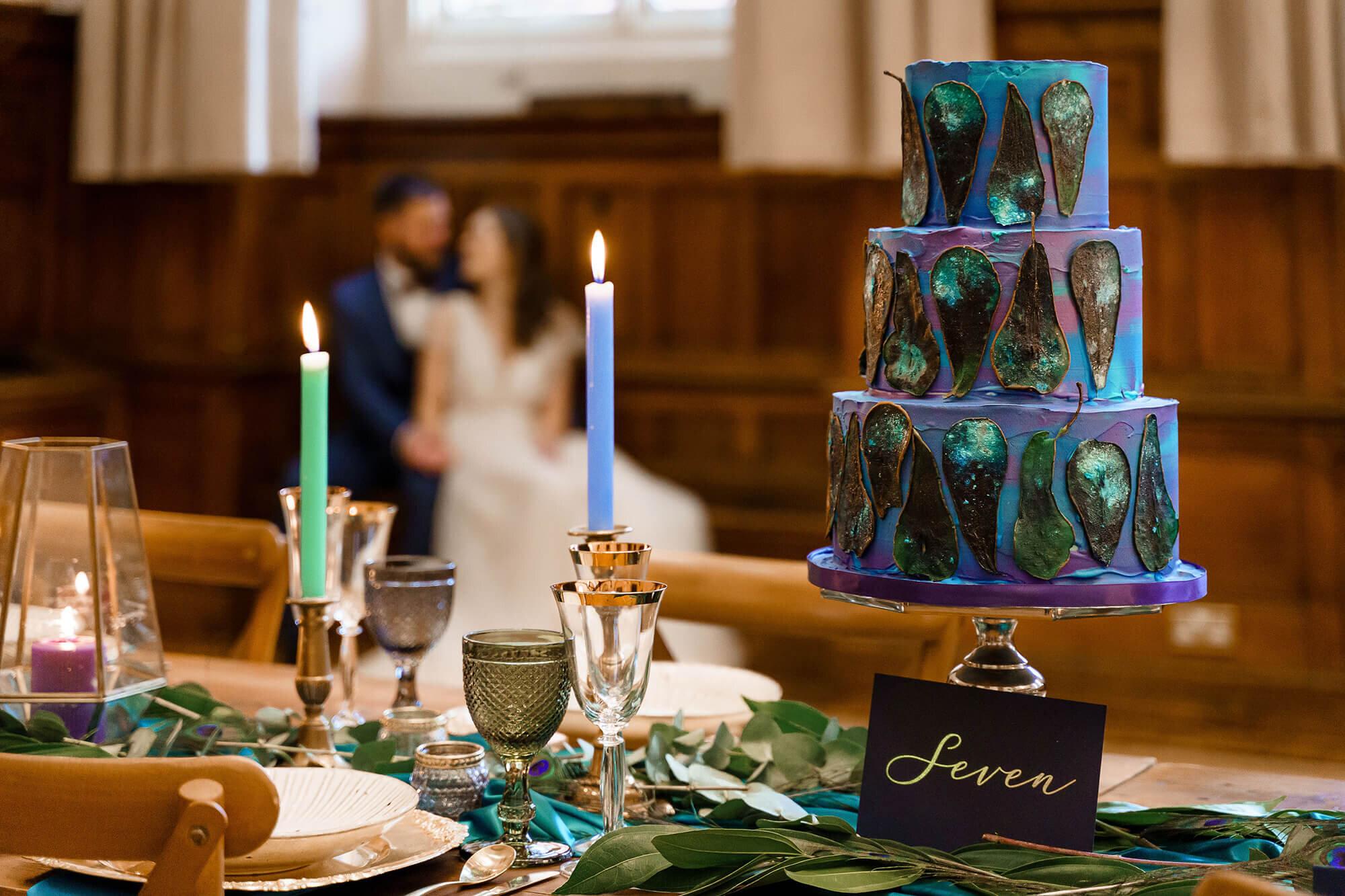 Peacock feather Wedding Cake Design