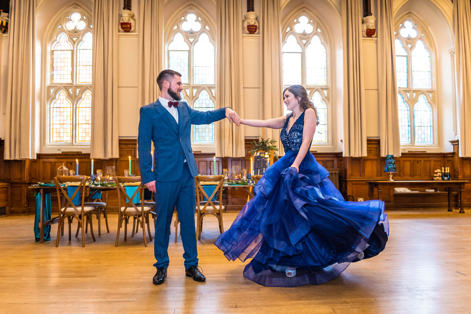 Wedding Couple Bride and Groom Dancing Winchester Guildhall Blue Wedding Dress Evening