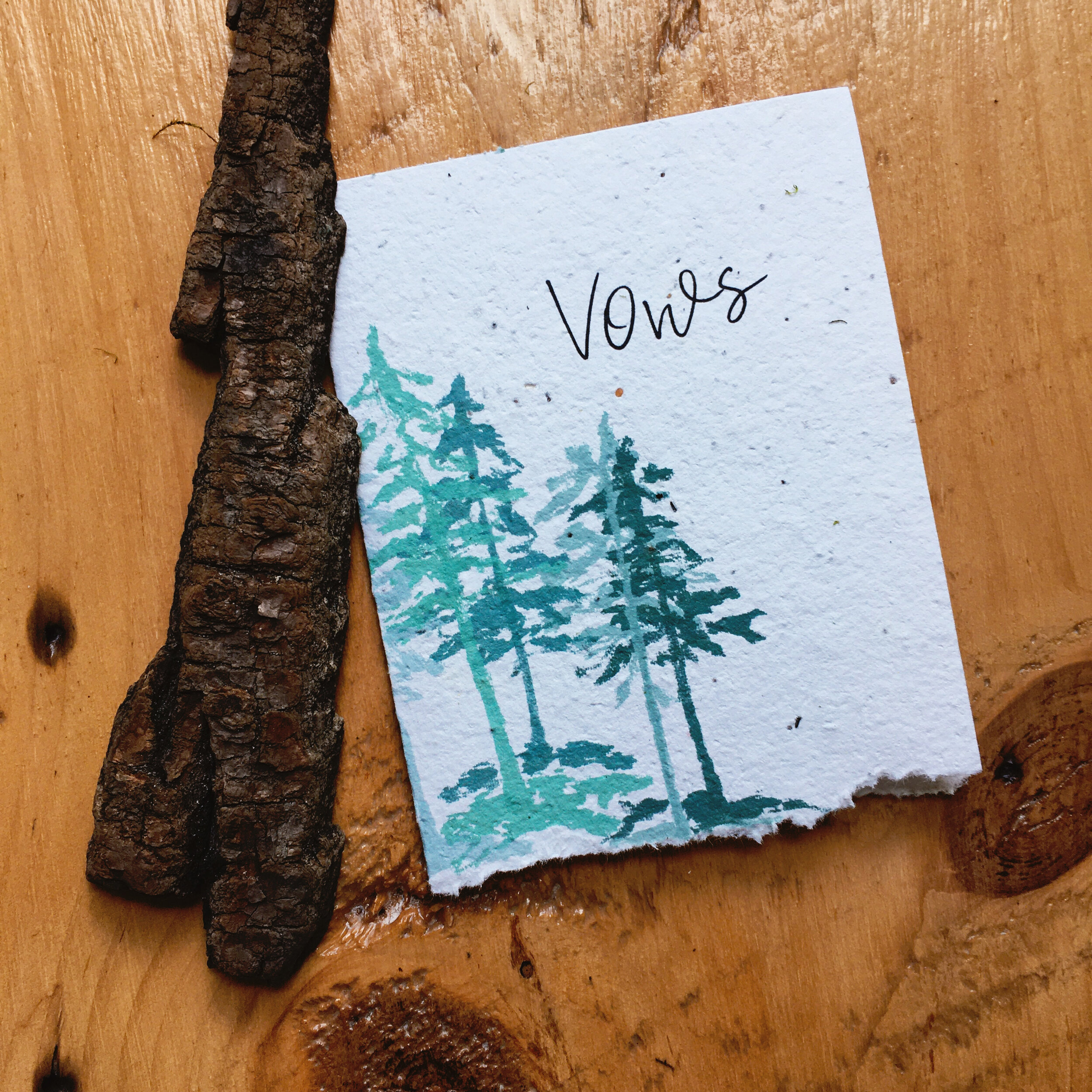 Set of 2 Custom Mountain Forest Vow Books for Wedding Vows. Rustic Wedding Vow Book Set