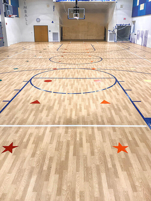 Indoor Basketball Courts Tennis Courts Gyms Paint Lines Striping Markings Symbols Stencils Equus Striping Pavement Marking Company