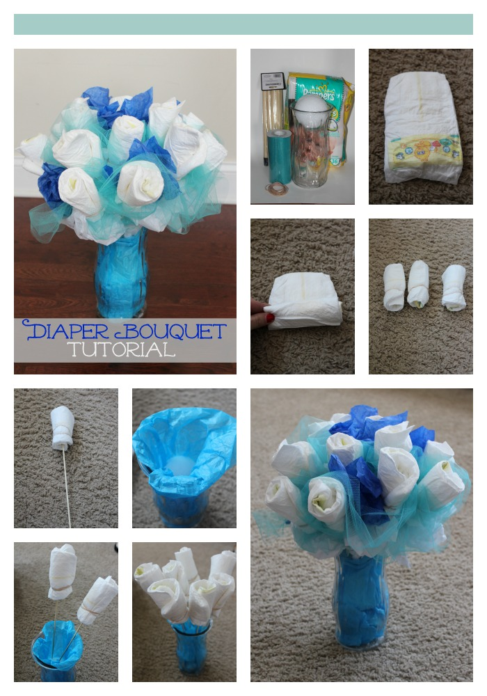 This Is A Diaper Bouquet To Welcome Baby Boy Great For Showers Includes 12 Size 1 Diapers Pair Of Tigger Mittens Socks Hat