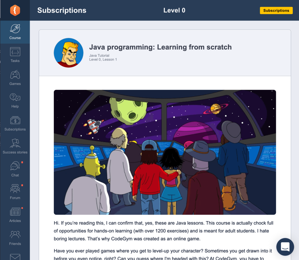 CodeGym lessons feel like a story-based sci-fi fantasy adventure game.