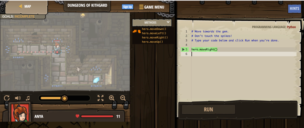 In CodeCombat, you guide your hero through perils by writing code that controls your hero. In the first lesson, you guide a hero with simple methods such as hero.moveRight() and hero.moveDown().