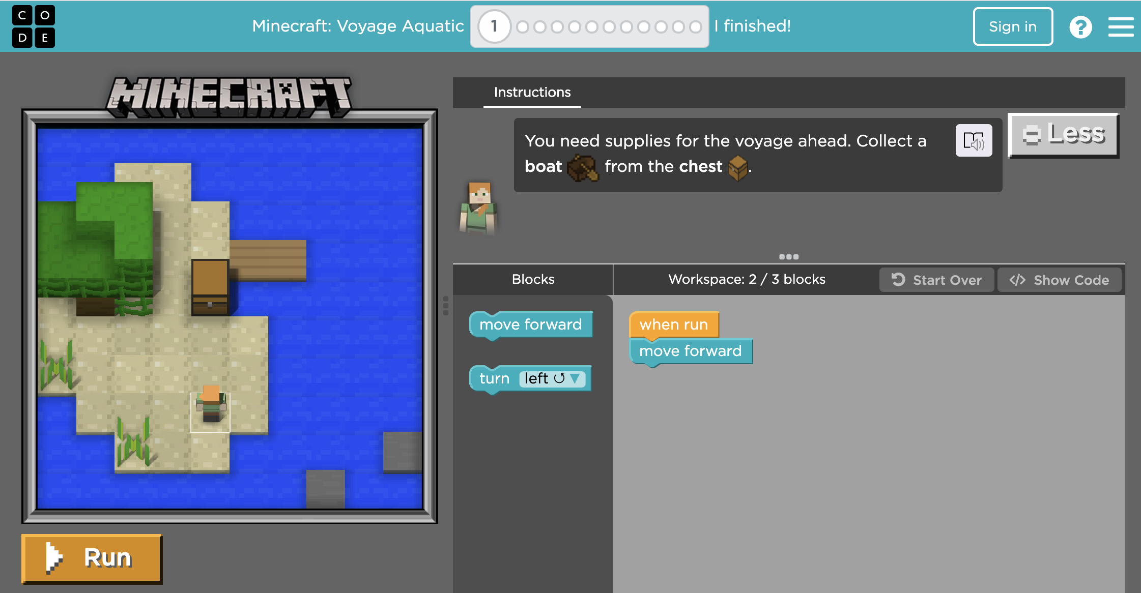 Learn to code with a Minecraft world and characters.
