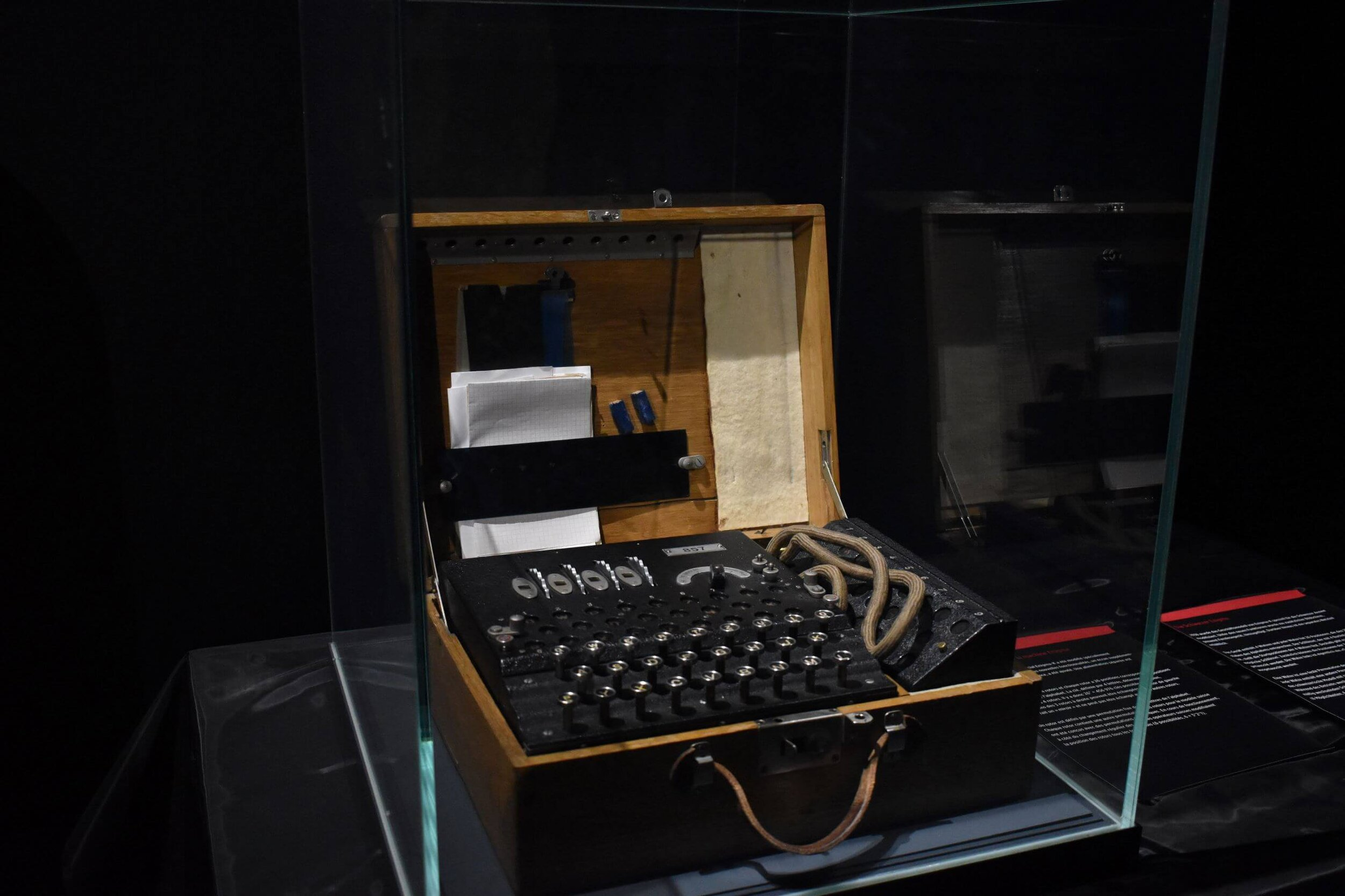 An old-fashioned, enigma encryption machine. These machines were popular in the early to mid-20th century.
