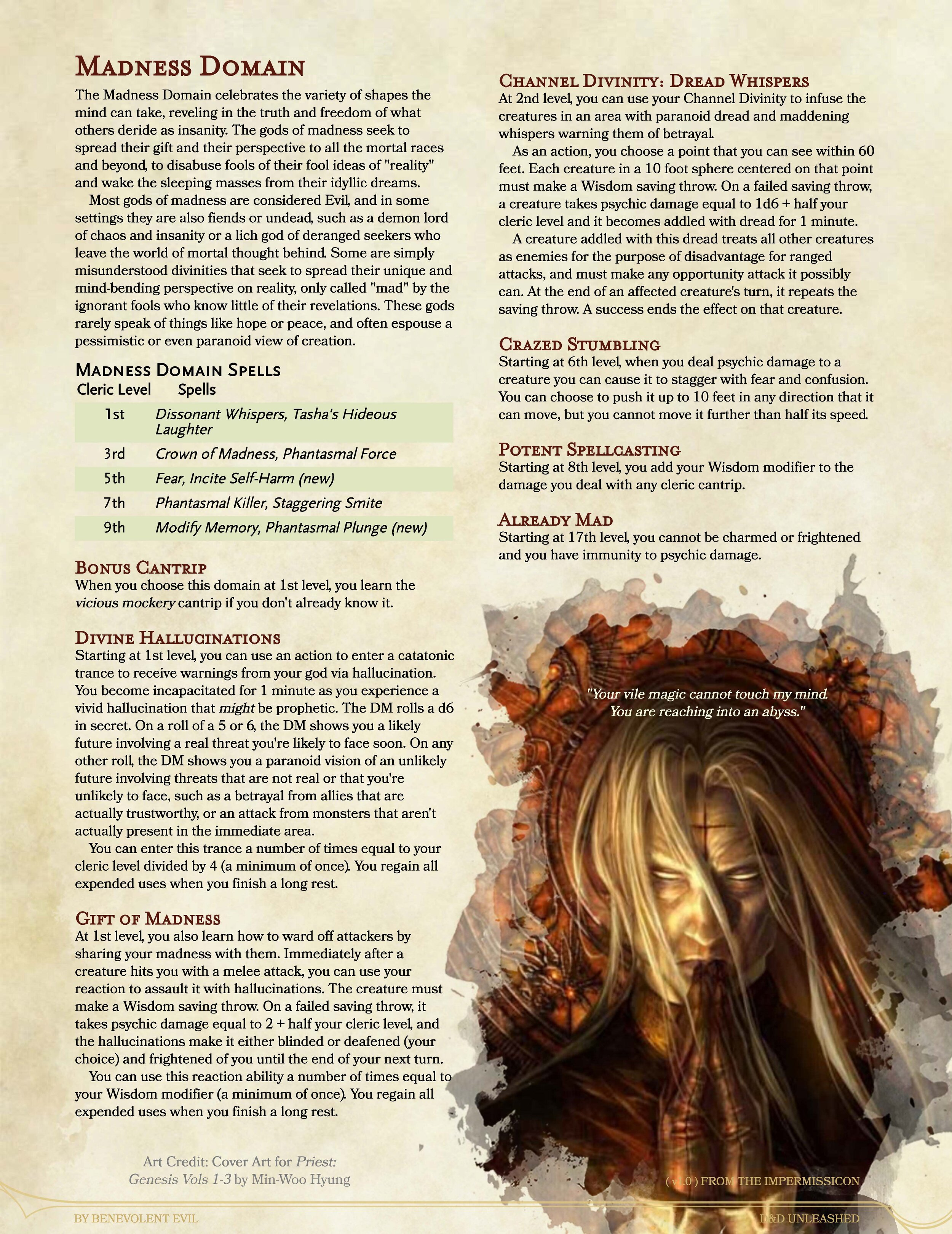 The Madness Domain Cleric Dnd Unleashed A Homebrew Expansion For 5th Edition Dungeons And Dragons You cannot cast spells that require this component if you cannot act or speak. the madness domain cleric dnd