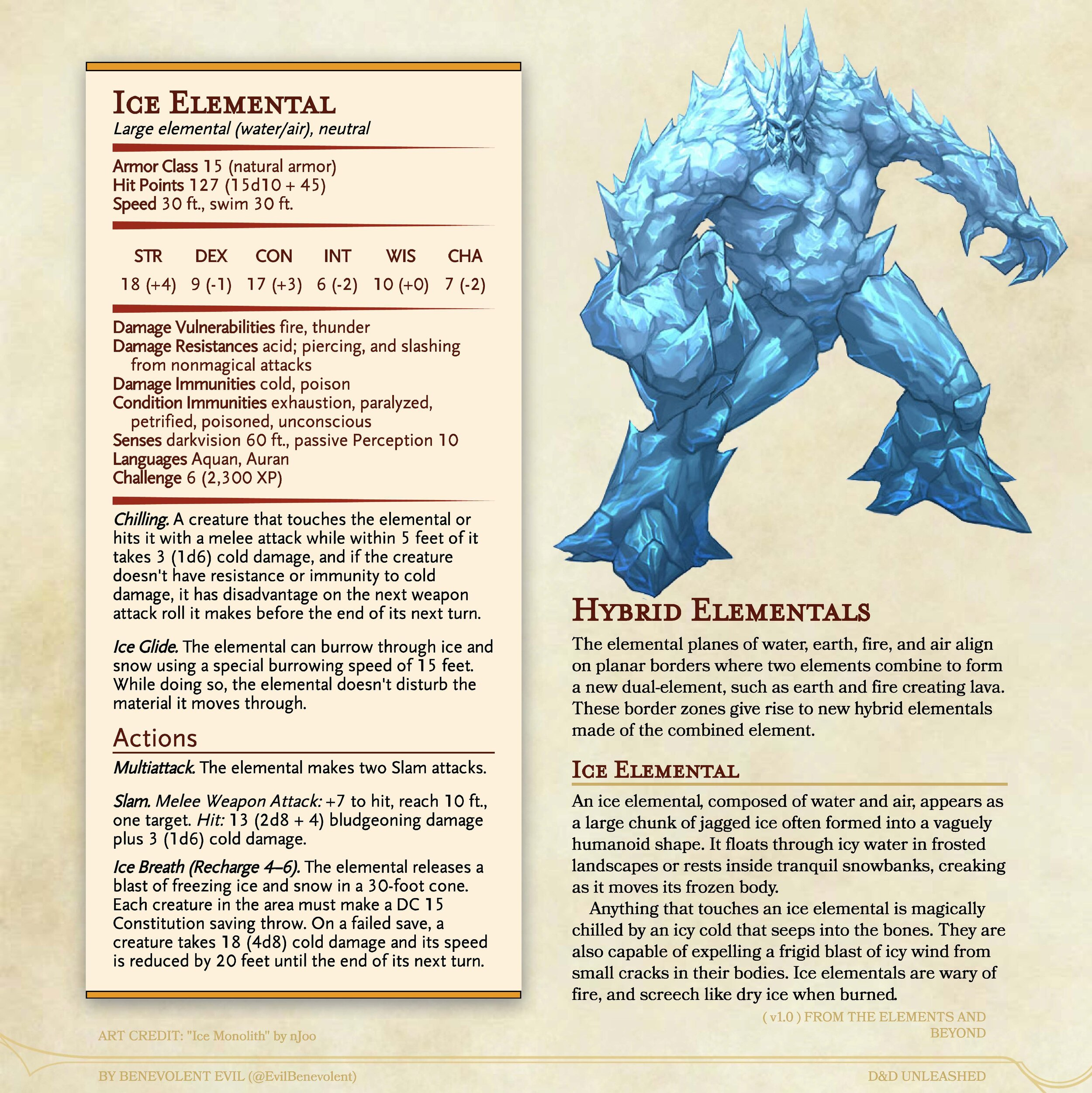 New Monster Ice Elemental Dnd Unleashed A Homebrew Expansion For 5th Edition Dungeons And Dragons It obeys any verbal commands that you issue to it (no action required by you). new monster ice elemental dnd