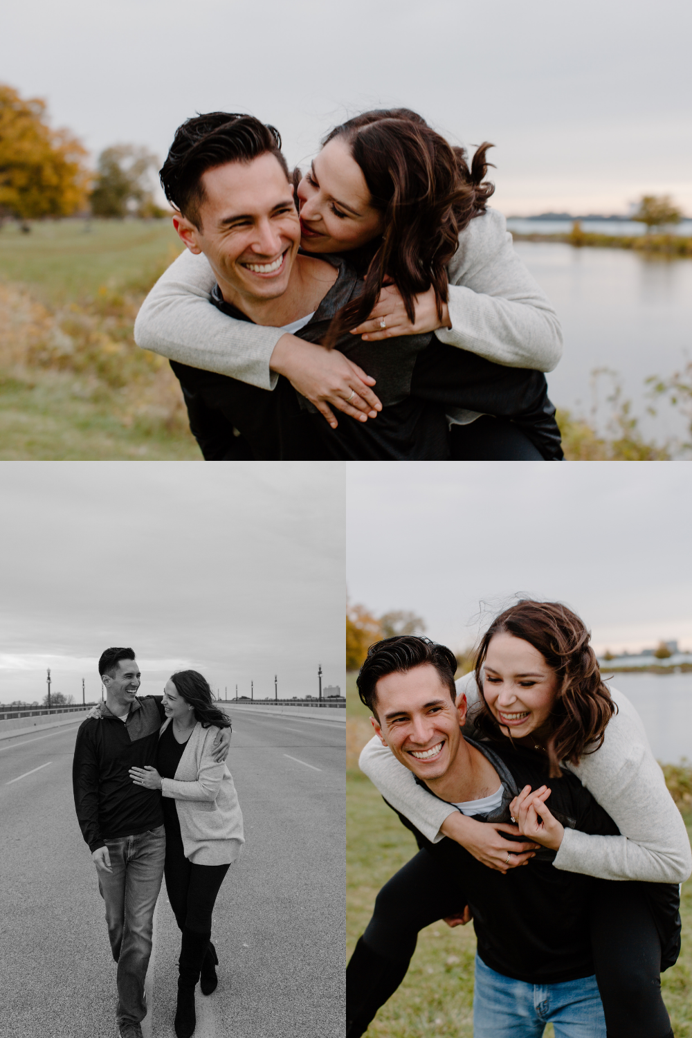 A meaningful engagement session during golden hour on Belle Isle in Detroit, Michigan.