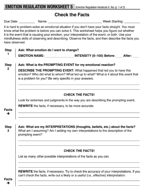 I love DBT worksheets, obviously. Here's one that helps with Check the Facts.
