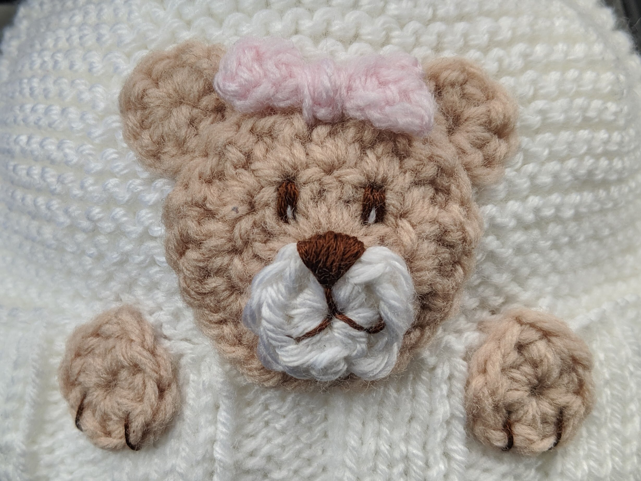 How to crochet teddy bear face applique in 2 sizes? | !Crochet ... | 750x1000