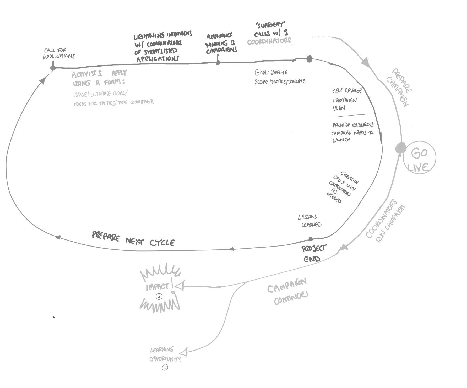 A rough sketch of a Campaign Accelerator cycle (January 2021 edition)