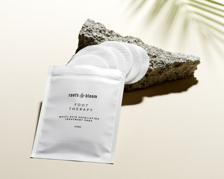 The multi-acid exfoliating treatment pads by Root and Bloom are perfect to treat your feet. Love your feet like your face treat yourself at-home spa day clean beauty products organic herbal infused daily skincare routine take care of yourself renew your feet multi-acid alpha and beta hydro acids exfoliate and hydrate #exfoliateyourfeet #rootandbloom #loveyourfeet #pamperyourself #spaday #softfeet #cleanbeautyproduts #skincareroutine #pedicure #foottherapy #cleanskin