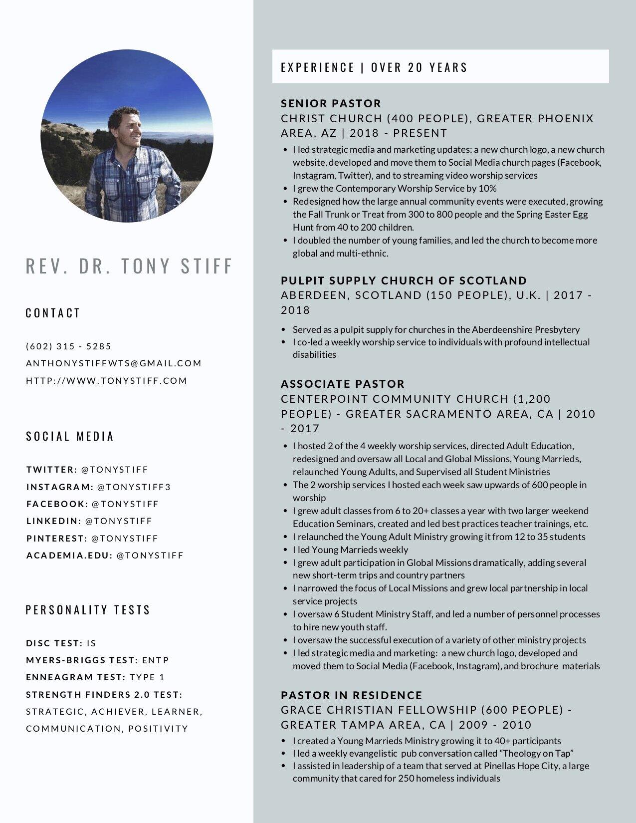 resume  u0026 cv  u2014 dr  tony stiff