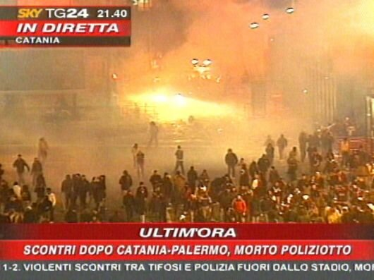 A photo of the news the evening Filippo Raciti was killed | Photo Credit