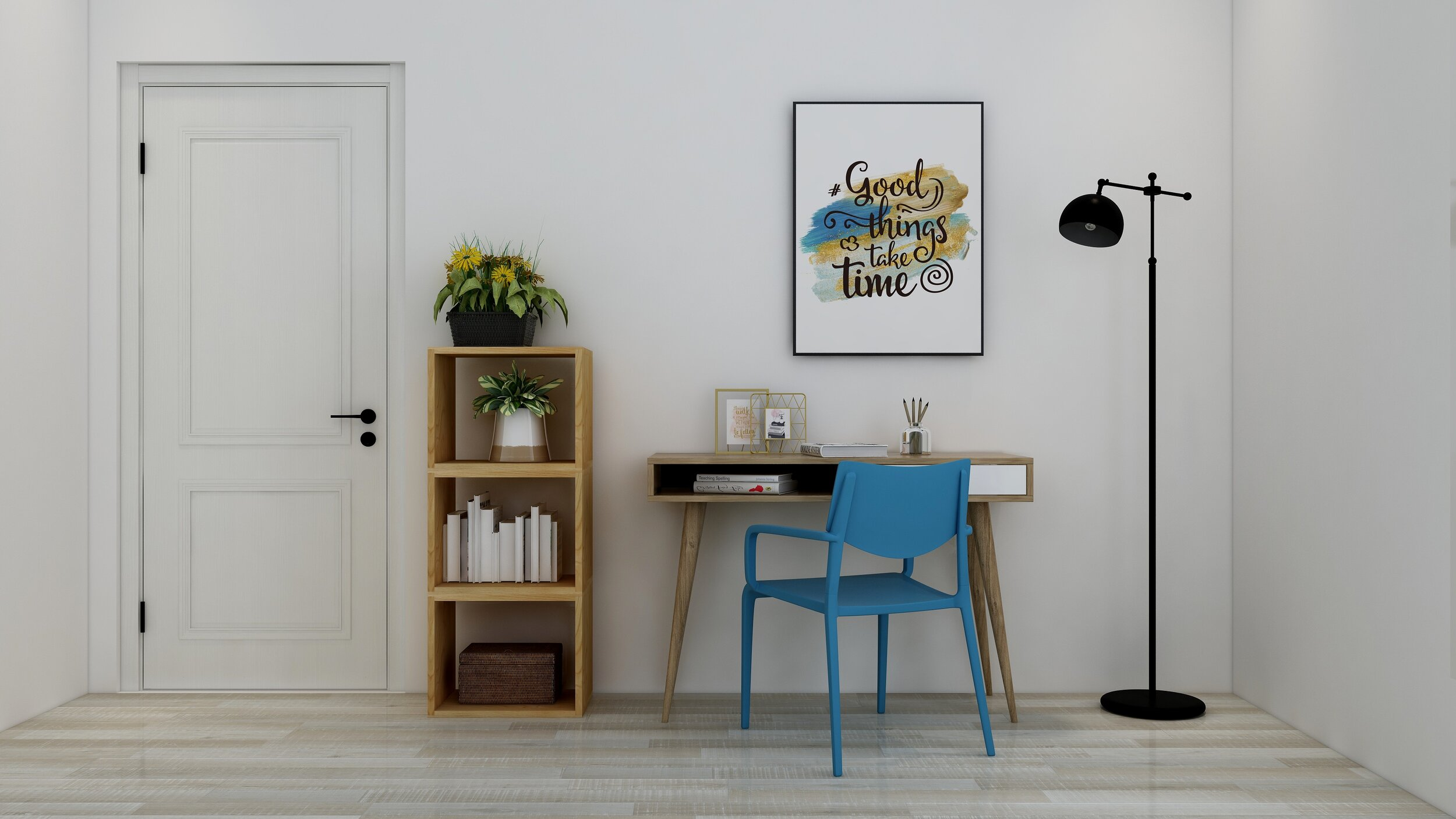 1.Find an area that you can dedicate to work.  - Whether you have a free wall, an empty room or even a corner of your bedroom, find a way to incorporate a space to work from home.